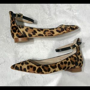Louise et Cie Leopard Ankle Pointed Flats Size 7